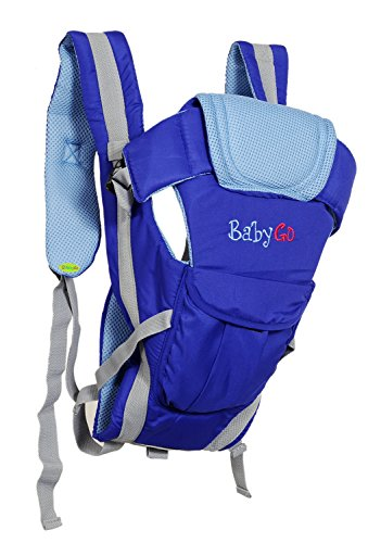 BabyGo Soft Breathable Adjustable Hands-Free 4-in-1 Baby Carrier with Comfortable Head Support & Buckle Straps (Blue)