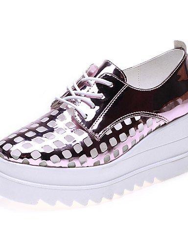 ZQ gyht Scarpe Donna - Senza lacci - Ufficio e lavoro / Formale / Casual - Comoda - Piatto - Finta pelle - Rosa / Argento , silver-us8 / eu39 / uk6 / cn39 , silver-us8 / eu39 / uk6 / cn39 pink-us6 / eu36 / uk4 / cn36