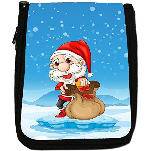 Joyful Christmas Time nella neve Medium Nero Borsa In Tela, taglia M Happy Santa Fills Gift In Sack