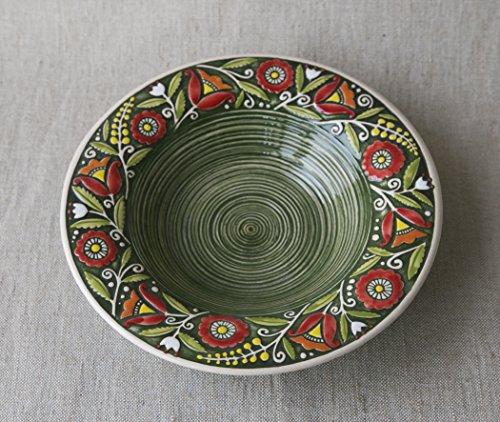 piatto-fondo-in-ceramica-fatto-a-mano-argilla-verde-eco-friendly-artigianale-cucina-stoviglie