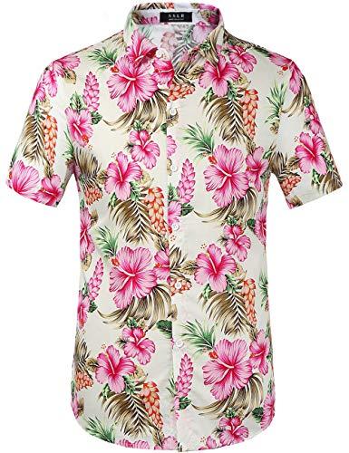 SSLR Herren Hawaiihemd Kurzarm Baumwolle Hemd Blumen gedruckt Aloha Shirt für Strand Freizeit (Small, Weiß Rosa) -