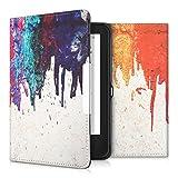 kwmobile Hülle für Tolino Shine 2 HD - Flipcover Case eReader Schutzhülle - Bookstyle Klapphülle Regenbogen laufende Farbe Design Mehrfarbig Rot Beige