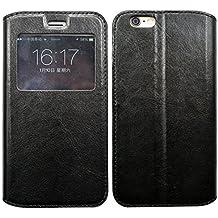 Prevoa ® 丨 XiaoMi Mi 4i Mi4i Mi4C Mi4 C Funda - Flip S - View Funda Cover Case para XiaoMi Mi 4i Mi4i Mi4C Mi4 C 5.0 Pulgadas Android Smartphone - Negro