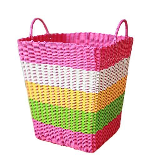 WXF Panier à linge Vêtements en plastique de stockage de panier de blanchisserie de tissage, organisateur pour des jouets d'enfants ou des dortoirs d'université, facultatif multicolore