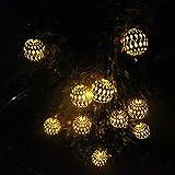 String Lights TAOtTAO Solarschneeflocke-Schnur beleuchtet Hausgarten-Dekoration mit Perlen 10LED (Gold)