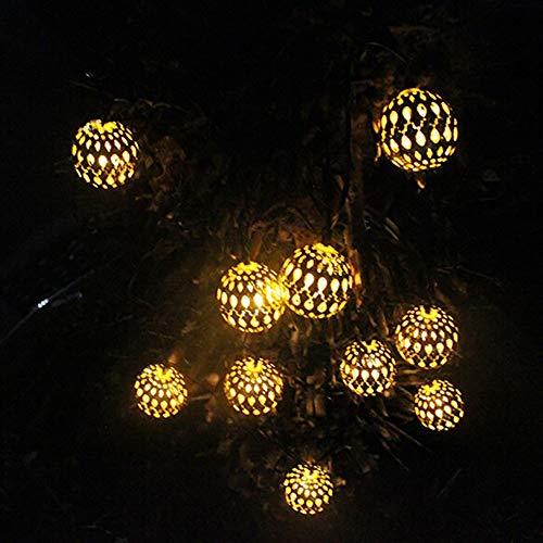 String Lights TAOtTAO Solarschneeflocke-Schnur beleuchtet Hausgarten-Dekoration mit Perlen 10LED (Gold) (Watt Appliance Glühbirne 60)
