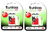 #7: Uniross 9V Rechargeable Batteries Hybrio 210 mah Ni-Mh PP3 Battery 210 Series Good 4 High Power Consumption item Nickel Metal Hydride set of 2 combo pack