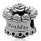 SoulBeads Happy Birthday Cake Charms Authentic .925 Sterling Silver Bead for Best Brithday Gift