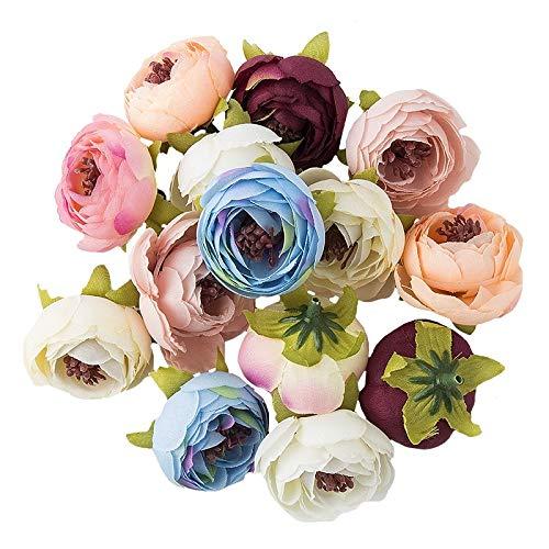 Ideen mit Herz Deko-Blüten, Kunstblumen, Blüten-Köpfe, Verschiedene Sorten, ca. Ø 4-5 cm (Ranunkel - Pastell - 28g)
