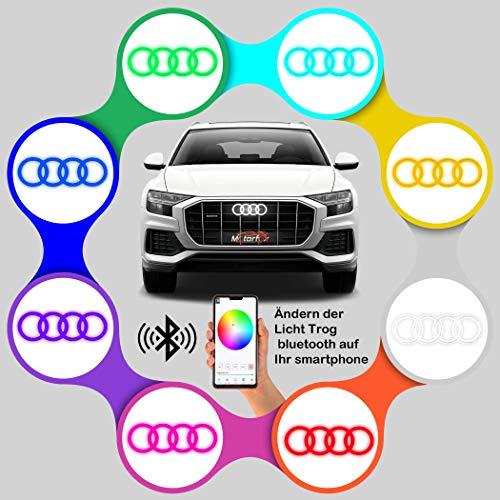 Motorfox RGB Mehrfarbiges Bluetooth Auto Emblem - Langlebige Qualität - Wasserdicht und vibrationsbeständig - Smartphone gesteuert - Stromsparend - Einfach zu installieren