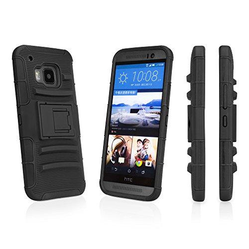 BoxWave Dual + Max Holster HTC One (M92015) Case-Rugged Hard Shell Case mit Ständer und Gürtelclip Holster, voll geschlossen mit Schutzfolie für 360Grad Schutz-HTC One (M92015) Fällen und Abdeckungen (Pitch Black)