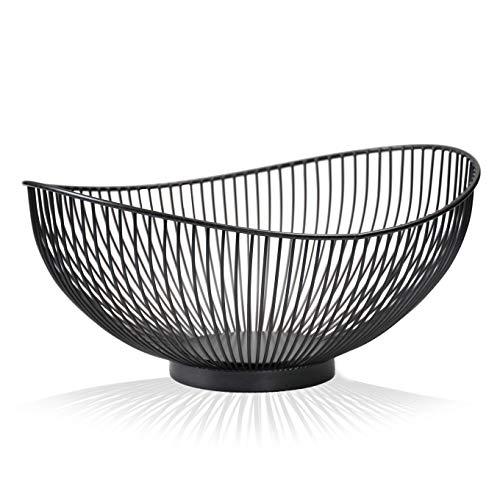 CALUTEA Moderne Obstschale // Metall // Stahlgrau - Schwarz // dekorativer Designer Obstkorb