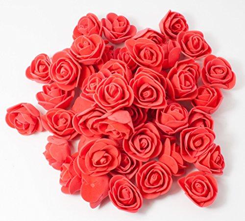 MissBirdler Rosenköpfe 50 Stück Deko Rosen Rot Foamrosen Kunstrosen Schaumrosen Rosenblätter Künstliche Blumen Streudeko Tischdeko Basteln Nähen Hochzeit Geburtstag Muttertag Valentinstag