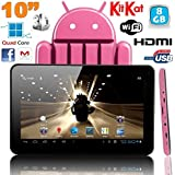 Tablette tactile 10 pouces Android 4.4 KitKat Quad Core 8 Go Rose