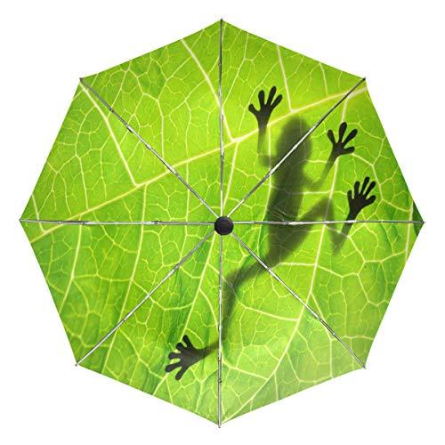 Wamika Regenschirm mit Frosch-Motiv auf Blättern, automatischer Regenschirm, Tiermotiv, Winddicht, wasserdicht, UV-Schutz, 3-Fach faltbar, automatisches Öffnen/Schließen, für Sonne und Regen