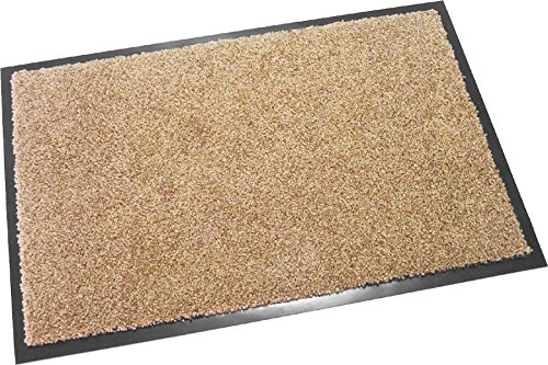 Hochwertige Fußmatte (Beige / 60x40 cm) waschbare Schmutzfangmatte - Höhe 8 mm - mit guter Wirkung gegen Nässe und Schmutz (bis zu 4L Wasser/m2)