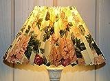 Plissee Tisch-Lampenschirm ROSE rund, bedruckter transluzenter Karton, Du=22/Do=9 /schräge H=14cm, Befestigung E27 & E14 mit Reduzierring inklusive