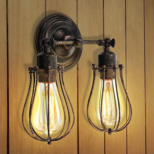 KINGSO Wandlampe Vintage E27 Wandleuchte Industrial Retro Wandlampe Rustikal Wandleuchte Verstellbare Lampe innen Metall Lampenschirm schwenkbar für Schlafzimmer Wohnzimmer Esstisch
