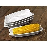Waterside Fine China Teller-Set für Maiskolben, Porzellan, Weiß, 4Stück
