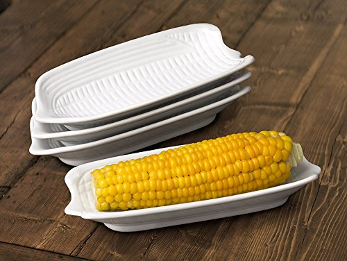 Porcelaine Blanche Set de 4 plats pour épis de maïs