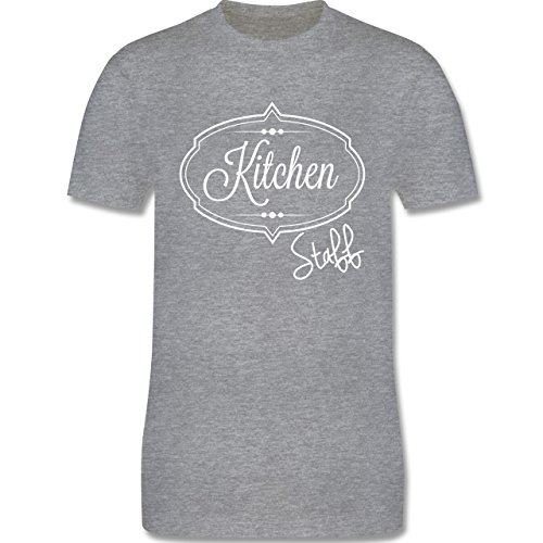 Küche - Kitchen Staff Küchenhelfer - Herren Premium T-Shirt Grau Meliert