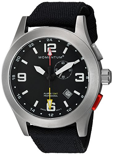 Momentum Men's 'Vortech GMT' Swiss Quartz Titanium and Canvas Casual Watch, Color:Black (Model: 1M-SP58B6B)