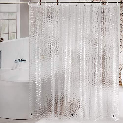 WELTRXE Duschvorhang Anti-Schimmel, Wasserdicht Vorhang an Badewanne Antibakteriell, 0.15mm [180x200cm] tansparent Vorhang für Dusche 3D Kubus, 100% Eva, inkl. 12 Duschvorhangringen