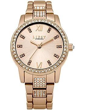 Lipsy Damen Quarzuhr mit Rose Gold Zifferblatt Analog-Anzeige und Rose Gold Legierung Armband LP464