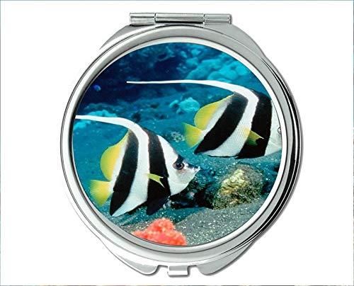 Yanteng Spiegel, Schminkspiegel, Jelly-Fish-Thema des Taschenspiegels, tragbarer Spiegel 1 X 2X Vergrößerung