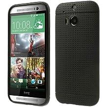 iProtect TPU Schutzhülle HTC One M8 Hülle weich Löcher schwarz