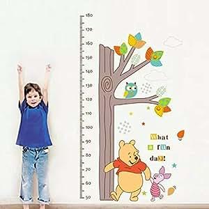 Un déguisement adorable décoration avec motif Winnie l'ourson Règle Mesure de la croissance en hauteur d'arbre DIY écologique en PVC Sticker Mural en vinyle amovible Creative Art Décoration pour chambre d'enfant Chambre adesivo de Pared Living Room Autocollant Mural décoratif en vinyle pour enfant Cadeau