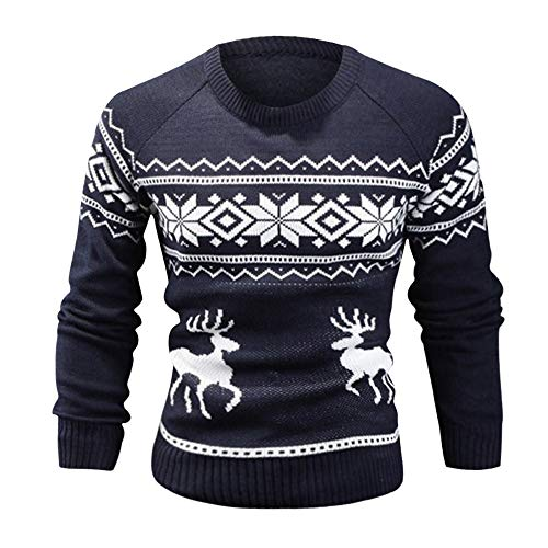 Pullover Sweater Sweatshirt, SUNNSEAN Bluse Winter Männer Blumendruck Warme Winter Dünne Shirt Langarm Top T-Shirt Langarmshirts Jumper