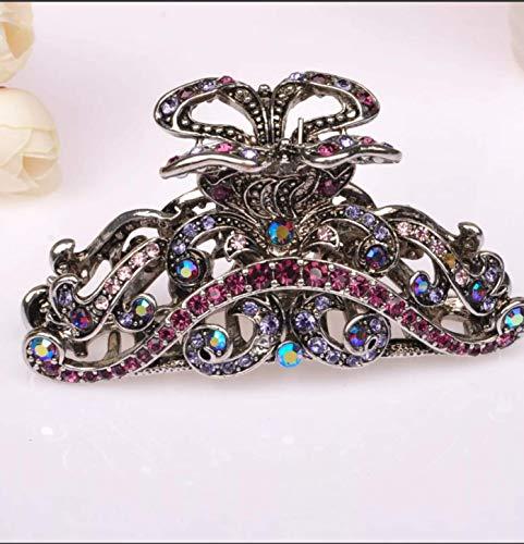 Metall Haarklammer Violett mit Strass Antik Silber Haarspange Haarkralle