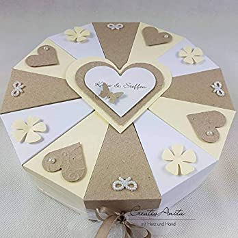 Hochzeitsgeschenk – Schachteltorte mit Taubenpaar oder Brautpaar in Taupe-Creme-Weiß – Geldgeschenk, Geschenkidee Hochzeit