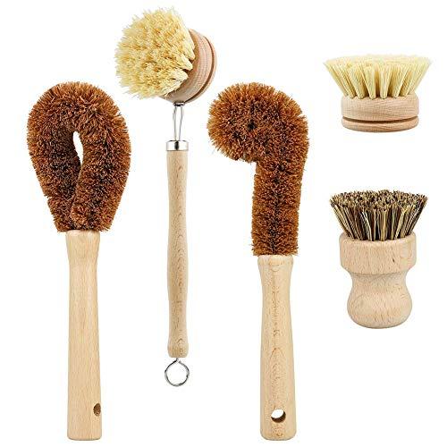 WE-WIN Set di pennelli per la Pulizia a Base vegetale 5 Pezzi per Il Bagno della Cucina