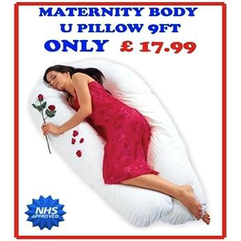 9FT U / V BODY MATERNITY / PREGNANCY PILLOW SUPPORT BACK, NURSING, FEEDING (NO CASE)