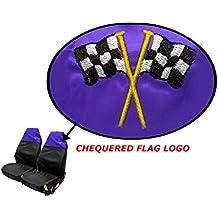 XtremeAuto® Funda negra/azul, impermeable/resistente, sin desgarres, respaldo alto, asiento delantero, protector con logo de bandera de cuadros (WLW2-B38-1)