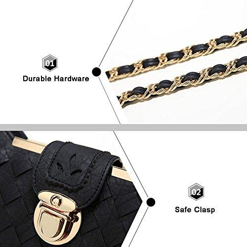 Yoome Woven Retro Kleine Tasche College Taschen Für Mädchen Stilvolle Kette Taschen Für Frauen Geldbörse Taschen - Lotus Rosa Schwarz