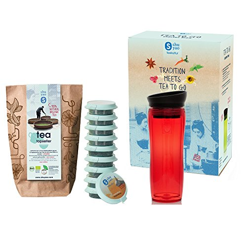 Shuyao Starter Box Tea To Go Thermobecher rot (360ml) mit integriertem Teesieb + 10 loser Bio Tee 30g