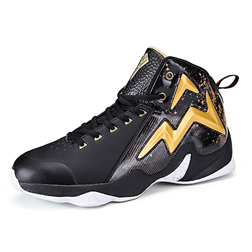 Elaphurus Herren Basketballschuhe Atmungsaktiv High Top Sneaker Anti-Rutsche Trainingsschuhe Sportschuhe(Gold EU38)