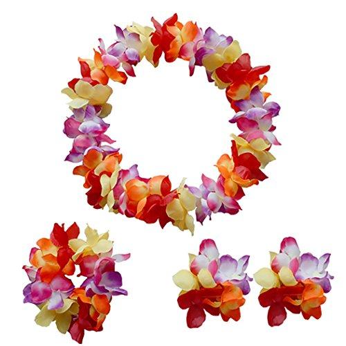 Zoylink Hawaii Kostüm Set Party Flower Halskette enthält Lei Stirnband Armband Hawaiian Party Kostüm Partyzubehör