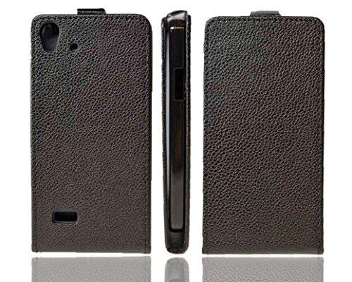 caseroxx Hülle/Tasche Flip Cover schwarz + Bildschirmschutzfolie für Medion Life X5001, Set bestehend aus Flip Cover & Bildschirmschutzfolie