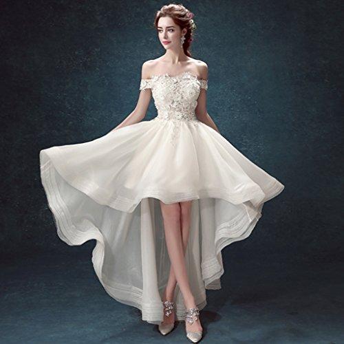 CJJC Damen Elegante Brautkleider Schulterfrei Fairy Asymmetrische Bodenlangen Kleider mit Spitze...