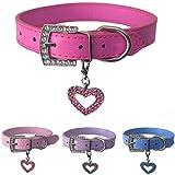 Hundehalsband aus Leder mit gratis Herzanhänger in den Größen XS, Small, Medium und Large (XS, Hot PInk)