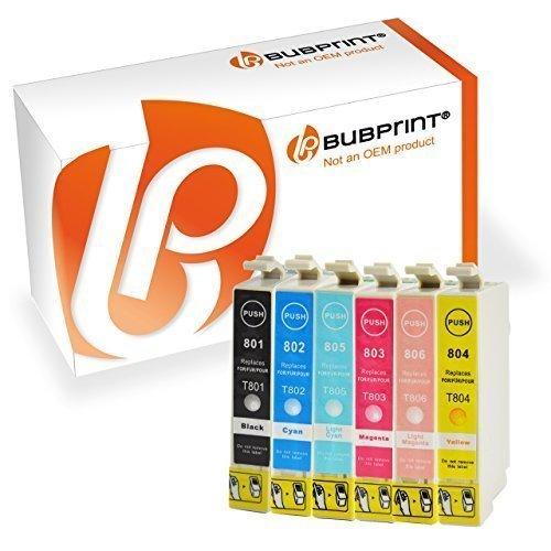 Bubprint 6 Druckerpatronen kompatibel für Epson T0801 - T0806 für Stylus Photo P50 PX650 PX660 PX700W PX710W PX720WD PX730WD PX800FW PX810FW PX820FWD (Light Druckkopf Magenta)