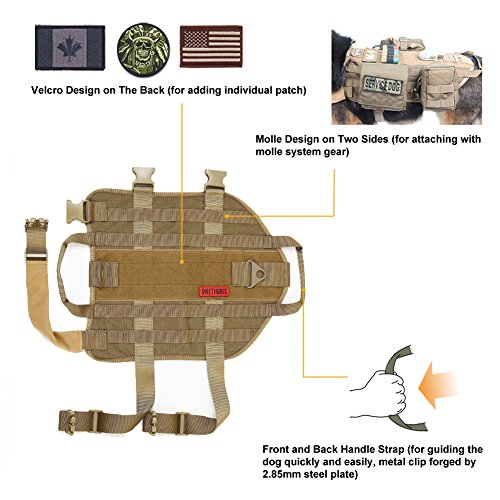 OneTigris Taktisch Hundeausbildung MOLLE Weste Geschirr Hundegeschirr mit einfach abnehmbare Dienstprogramm Kletttasche Zubehörtasche (Khaki, L) -