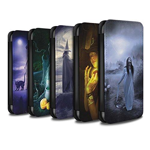 Officiel Elena Dudina Coque/Etui/Housse Cuir PU Case/Cover pour Apple iPhone 8 Plus / Vent/Orage/Forêt Design / Magie Noire Collection Pack 6pcs