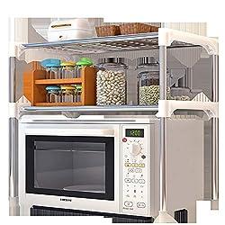 Zidao Küchenregal Standregal Mikrowellenhalter Bäcker Regal Haushaltsregal Mit 3 Ablagen, Multifunktionale Küchenregallagerung Beistellwagen,Weiß