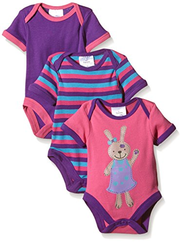 Twins Baby - Mädchen Kurzarm-Body im 3er Pack, Gr. 74, Mehrfarbig (Pink/Lila 3202)