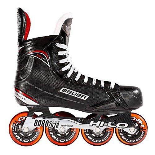 Bauer Inlinehockey Skates XR400 SR 76A Court, 9.0 (EU44.5) ABEC 5 Bearing, HI-LO Steel Chassis, Thermoformbar, Anatomical Foam Padding, Microfaser